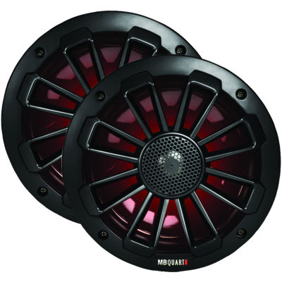 MB QUART NK1-116LB Nautic Series 6.5IN 120-Watt 2-Way Coaxial Speaker System with Matte Black Finish(With LED Illumination)