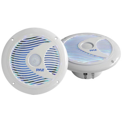 Pyle PLMR6LE Hydra Series 6.5IN 150-Watt Dual-ConeWaterproof Marine-Grade Speakers with Programmable Multicolor LED Lights