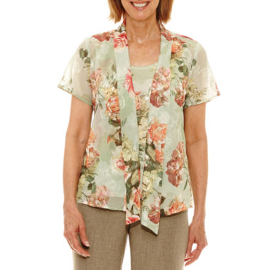 Alfred Dunner Botanical Garden Short Sleeve Floral Layered Top Petites