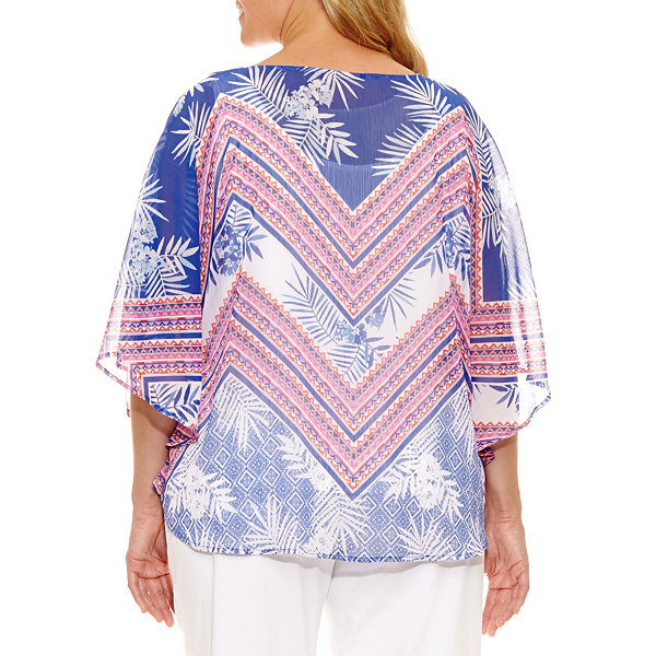 Lark Lane Viva Antigua Chevron Popover Chiffon Blouse-Plus
