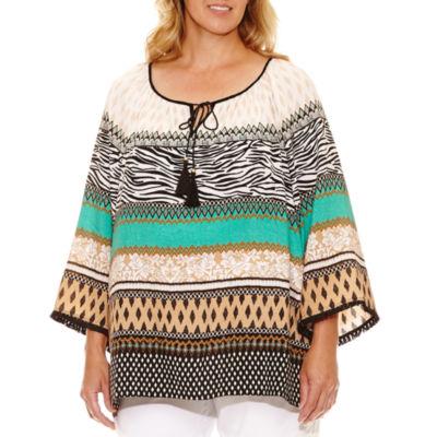 Lark Lane Safari Style 3/4 Sleeve Peasant Blouse- Plus