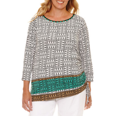 Lark Lane Safari Style Tunic with Side Ruching-Plus