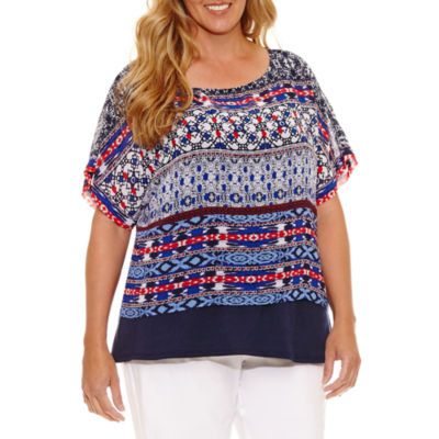 Lark Lane Summer Spirit Short Sleeve Stripe Popover Blouse-Plus