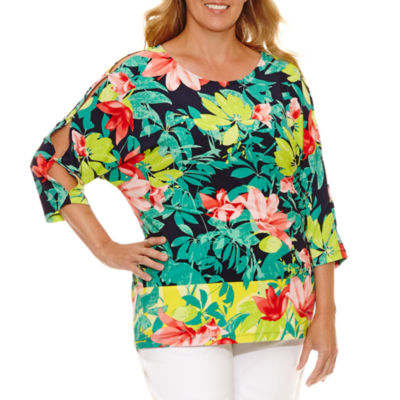 Lark Lane Braziliant Dolman Sleeve Floral T-Shirt-Plus