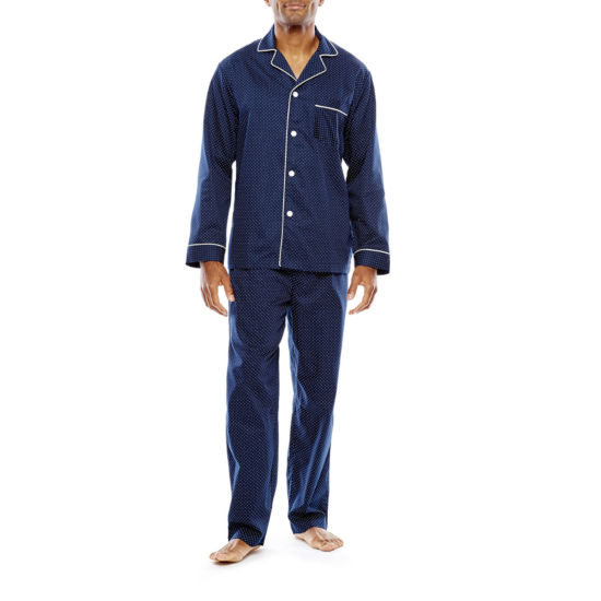 Stafford® Men's Sateen Long Sleeve/Long Leg Pajama Set - Big and Tall