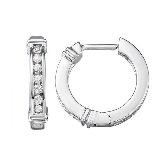 1/4 CT. T.W. Genuine White Diamond Sterling Silver 15.5mm Hoop Earrings