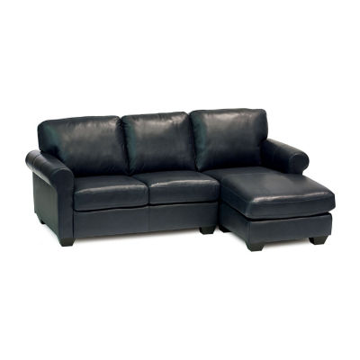 Leather Possibilities Roll Arm 2-Pc Left Arm Loveseat and Chaise Sectional