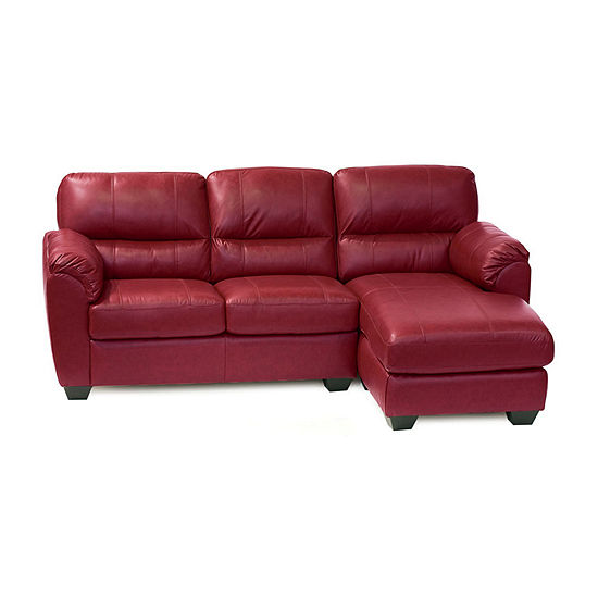 Leather Possibilities Pad Arm 2 Pc Left Arm Loveseat And Chaise Sectional
