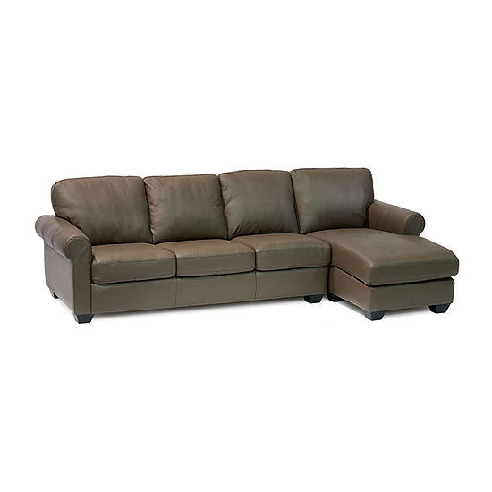 Leather Possibilities Roll Arm 2-Pc Left Arm Sofa and Chaise Sectional