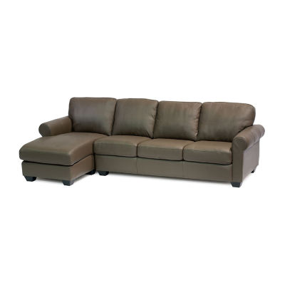 Leather Possibilities Roll Arm 2-Pc Right Arm Sofa and Chaise Sectional