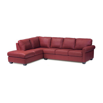 Leather Possibilities Roll Arm 2-Pc Right Arm Sofa Sectional with Corner Chaise