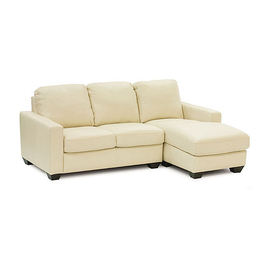 Leather Possibilities Track Arm 2-Pc Left Arm Loveseat and Chaise Sectional