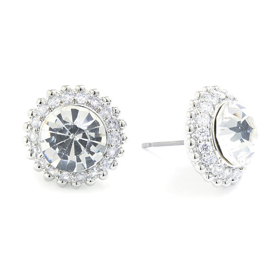 Sparkle Allure Crystal Pure Silver Over Brass 13.7mm Stud Earrings