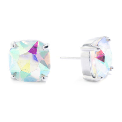 Sparkle Allure Crystal Pure Silver Over Brass 12mm Square Stud Earrings