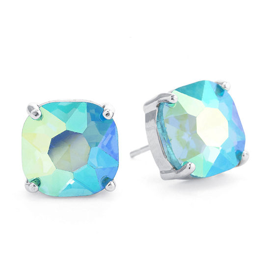 Sparkle Allure Blue Crystal 12mm Square Stud Earrings