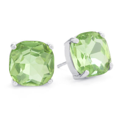 Sparkle Allure Green Crystal Pure Silver Over Brass 12mm Square Stud Earrings