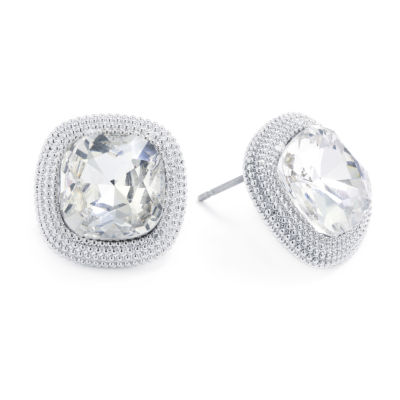 Sparkle Allure Crystal Pure Silver Over Brass 14.8mm Square Stud Earrings
