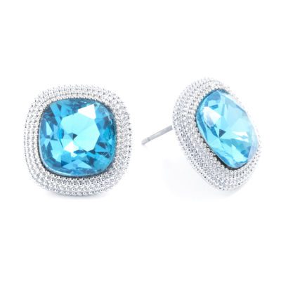 Sparkle Allure Blue Crystal Pure Silver Over Brass 14.8mm Square Stud Earrings