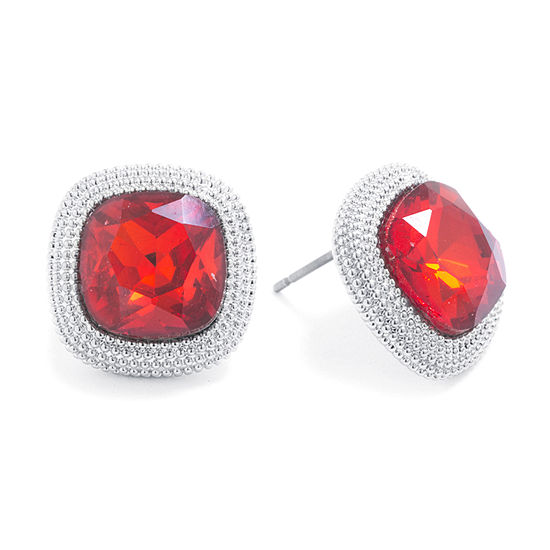 Sparkle Allure Red Crystal Pure Silver Over Brass 14.8mm Square Stud Earrings