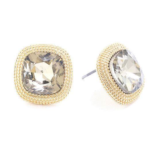 Sparkle Allure Champagne Crystal 24k Gold Over Brass 148mm Square Stud Earrings