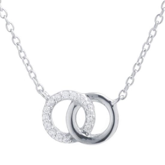 Silver Treasures Womens Cubic Zirconia Sterling Silver Pendant Necklace