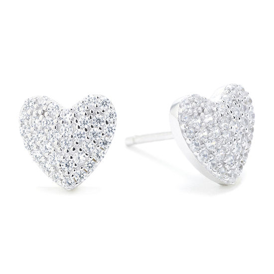 Silver Treasures Silver Treasures Cubic Zirconia Sterling Silver 8mm Heart Stud Earrings