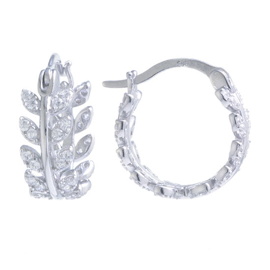 Silver Treasures Cubic Zirconia Sterling Silver 14mm Hoop Earrings