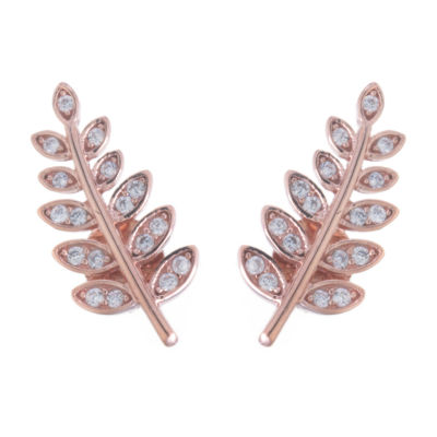 Silver Treasures Cubic Zirconia 14K Rose Gold Over Silver 16.5mm Stud Earrings