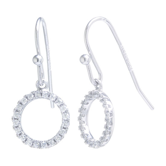 Silver Treasures Cubic Zirconia Sterling Silver Drop Earrings