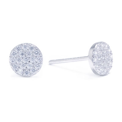 Silver Treasures Cubic Zirconia 14K Gold Over Silver 6mm Stud Earrings