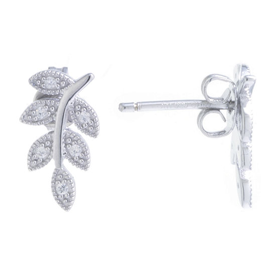 Silver Treasures Cubic Zirconia Sterling Silver Ear Climbers