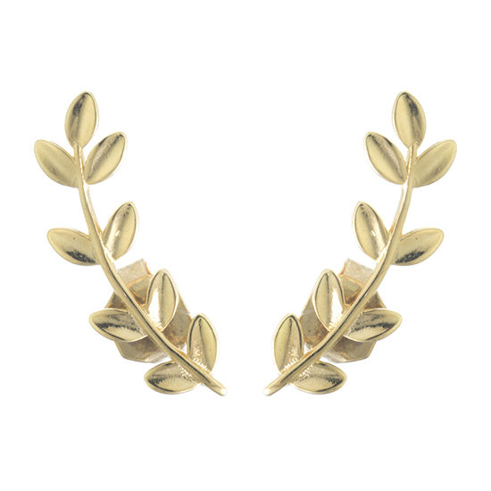 Silver Treasures 14K Gold Over Silver Leaf Stud Earrings