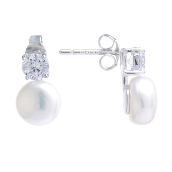Silver Treasures Cubic Zirconia Cultured Freshwater Pearl Sterling Silver 13mm Stud Earrings