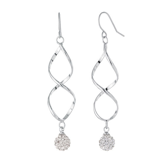 Sparkle Allure Pure Silver Over Brass Crystal Ball Twist Drop Earrings