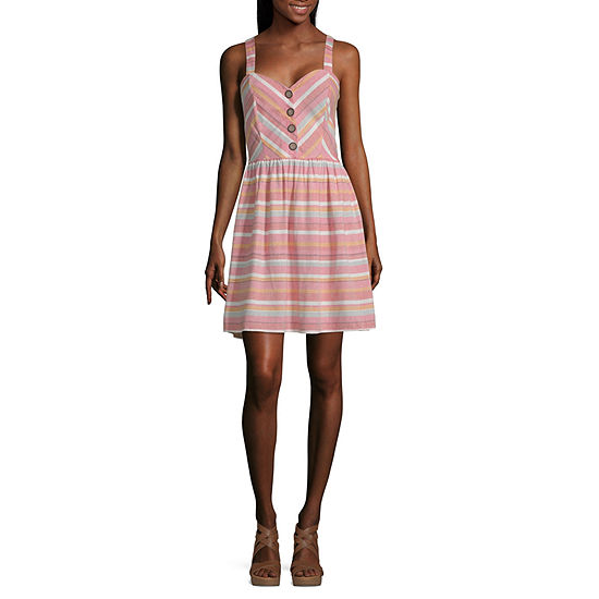 My Michelle Sleeveless Striped Fit & Flare Dress-Juniors