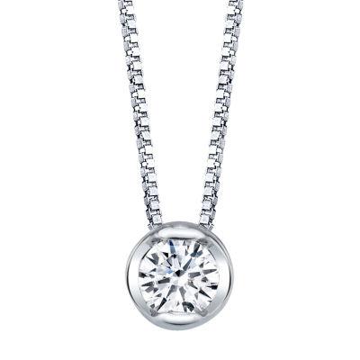 Sirena Womens 1/10 CT. T.W. Genuine White Diamond 14K White Gold Pendant Necklace