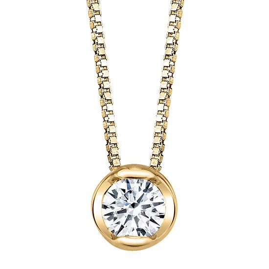 Sirena Womens 1/5 CT. T.W. Genuine White Diamond 14K Gold Pendant Necklace