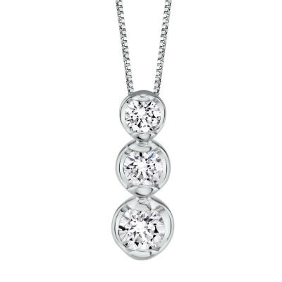 Sirena Womens 1/4 CT. T.W. Genuine White Diamond 14K White Gold Pendant Necklace