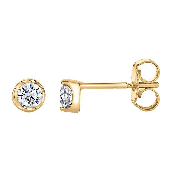 Sirena 1/5 CT. T.W. Genuine White Diamond 14K Gold 3.5mm Stud Earrings