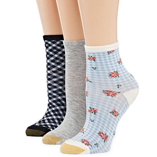 Gold Toe Gingham 3 Pair Crew Socks - Womens