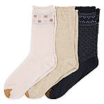 Gold Toe Border Lace 3 Pair Crew Socks Womens
