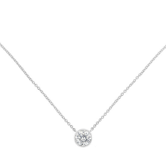Womens 1/5 CT. T.W. Genuine White Diamond 10K White Gold Pendant Necklace