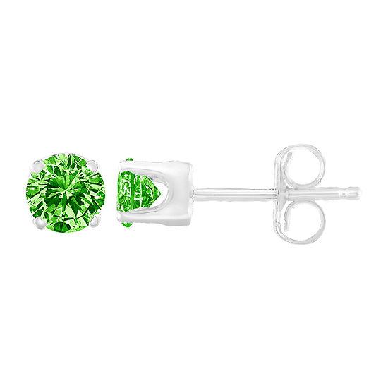 1/5 CT. T.W. Genuine Green Diamond Sterling Silver 2.9mm Stud Earrings