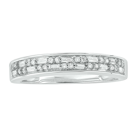 Womens 2MM 1/5 CT. T.W. Genuine White Diamond 10K White Gold Anniversary Band