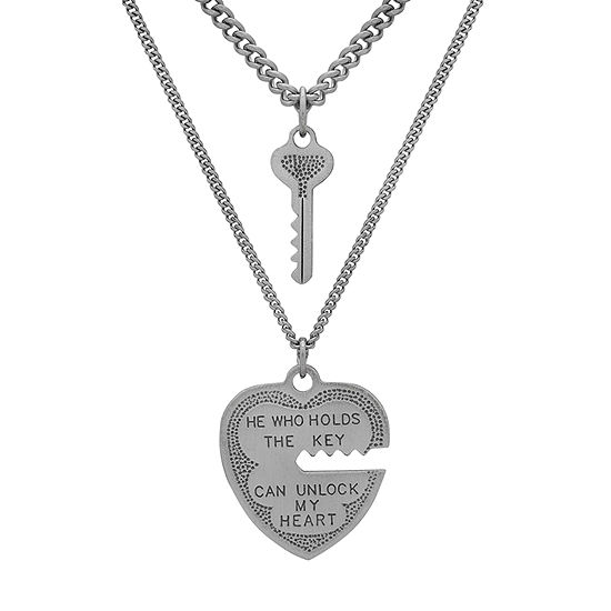 Womens Stainless Steel Sterling Silver Heart Pendant Necklace Set