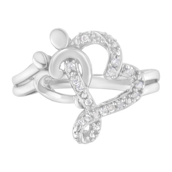 Womens 1/10 CT. T.W. Genuine White Diamond Sterling Silver Crossover Cocktail Ring