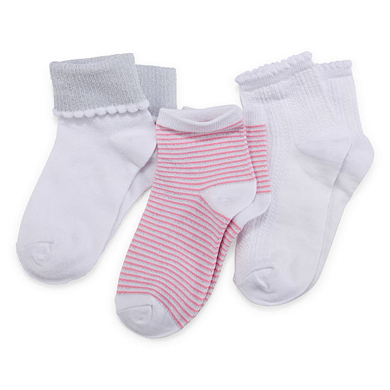 Little Girls 3 Pair Low Cut Socks