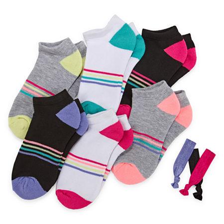 Xersion Big Girls 6 Pair Low Cut Socks, Large , Multiple Colors