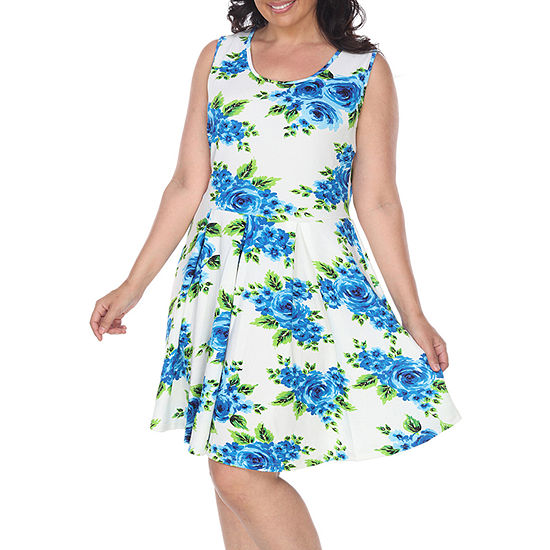 White Mark Sleeveless Floral Fit Flare Dress Plus