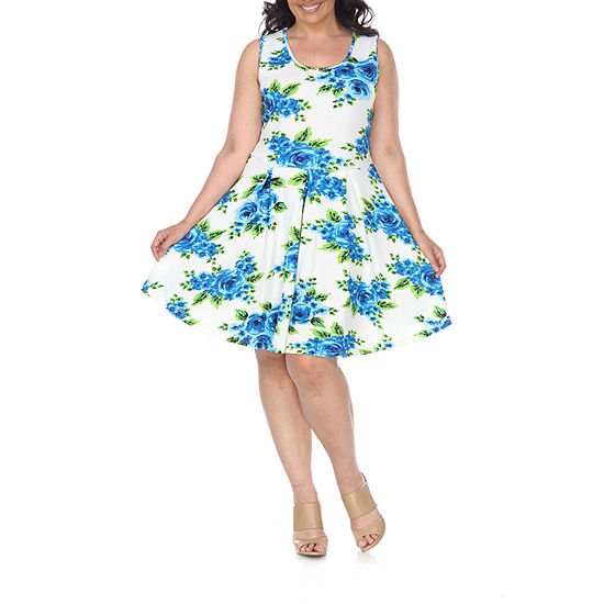 White Mark Sleeveless Floral Fit & Flare Dress-Plus